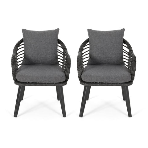 Becky Indoor Wicker Club Chairs with Cushions (Set of 2)