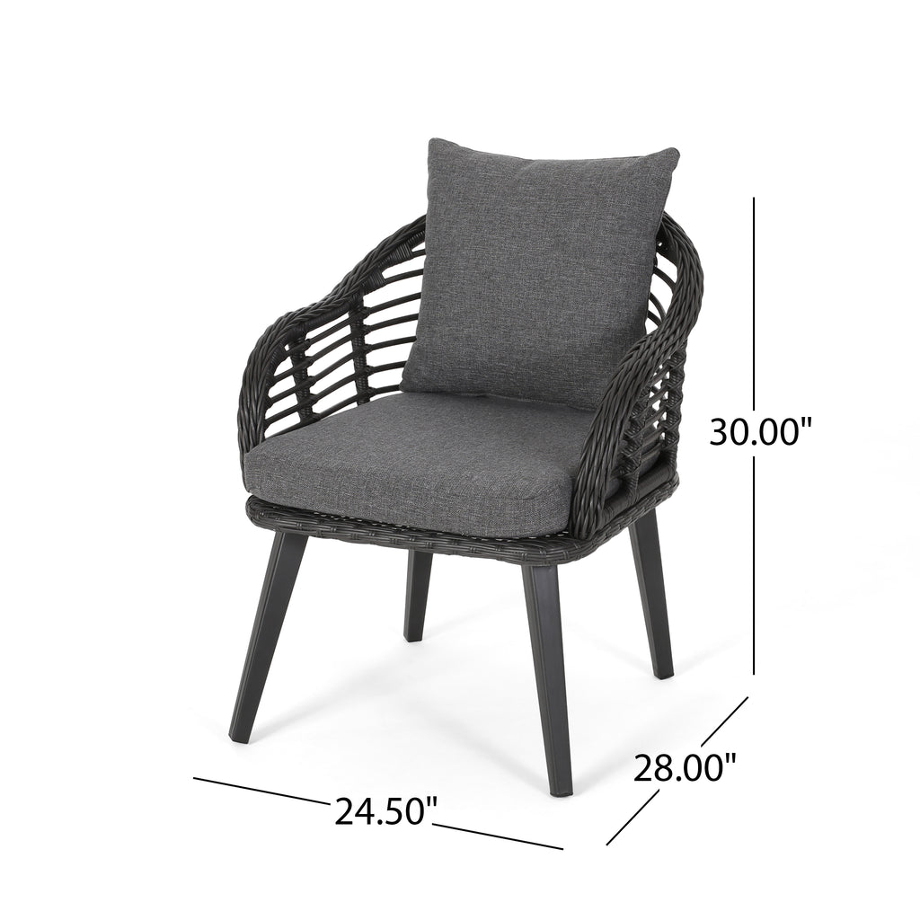 Set of 2 Becky Indoor Wicker Club Chairs with Cushions