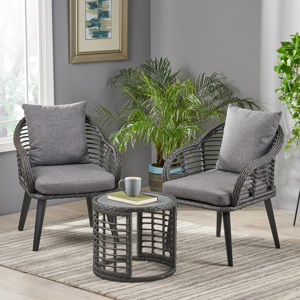 yulianna indoor modern boho wicker chat set with side table