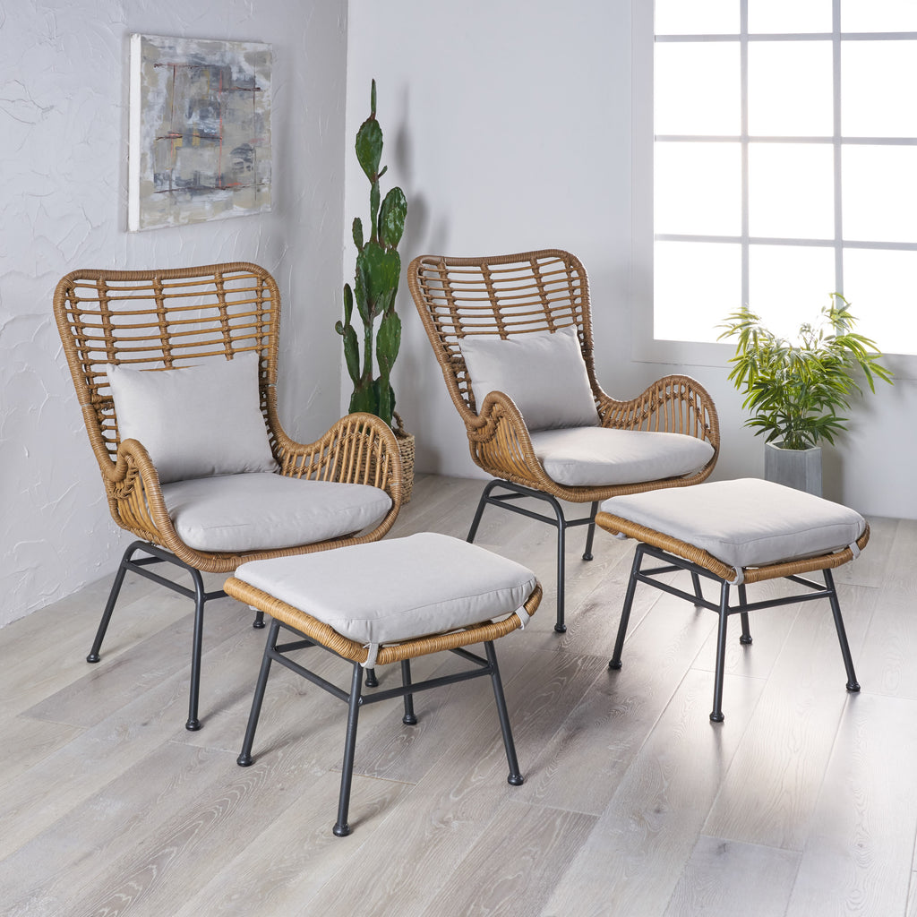 jocelyn indoor modern boho wicker chat set with ottomans