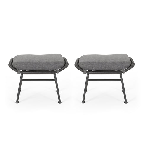 Gloria Outdoor Modern Boho Wicker Ottoman (Set of 2)