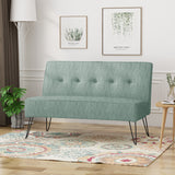 Simona Modern Fabric Settee with Hair Pin Legs