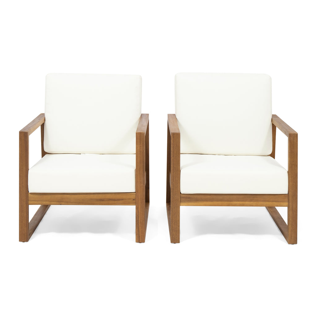 Super Marlee Outdoor Acacia Wood Club Chair With Cushions Set Of 2 Lamtechconsult Wood Chair Design Ideas Lamtechconsultcom