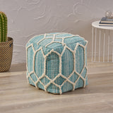 Erza Boho Wool and Cotton Ottoman Pouf