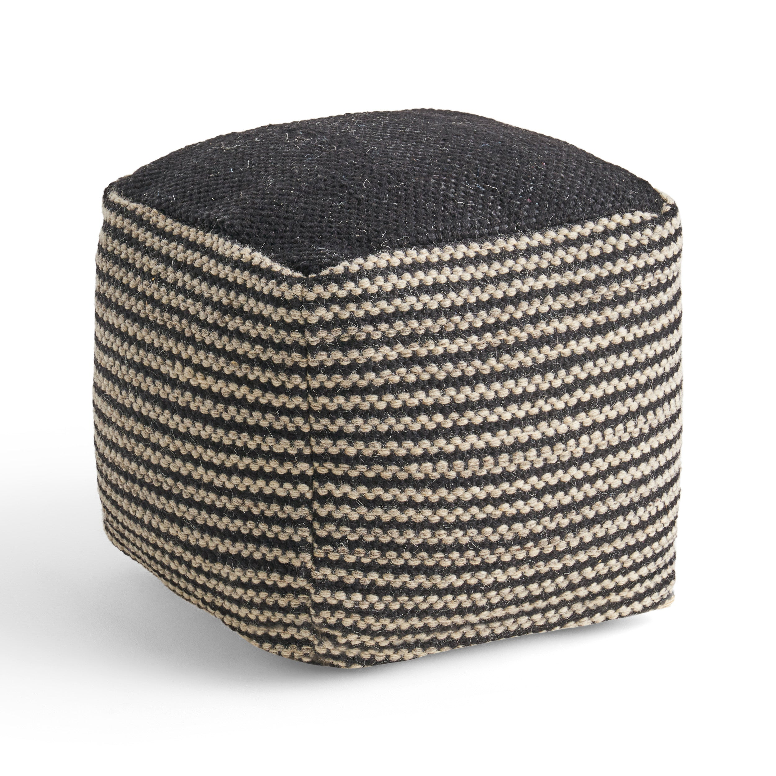 Allyssa Boho Wool and Cotton Ottoman Pouf Default Title