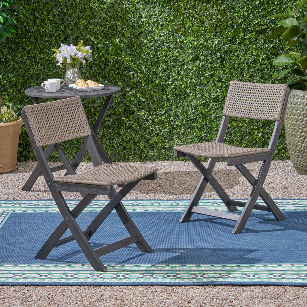 Truda Outdoor Acacia Wood Foldable Bistro Chairs With Wicker Seating Set Of 2