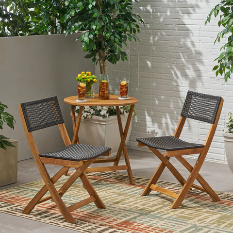 Truda Outdoor Acacia Wood Foldable Bistro Chairs with Wicker Seating (Set of 2)