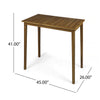 Teresa Outdoor Minimalist Acacia Wood Rectangle Bar Table