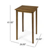 Teresa Outdoor Minimalist Acacia Wood Square Bar Table