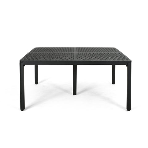 Athena Modern Aluminum Dining Table with Woven Accents