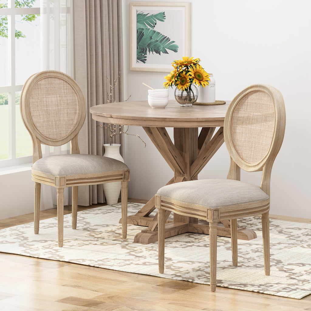 841134e6ee45 Camilo Wooden Dining Chair with Wicker and Fabric Seating (Set of 2) – GDF  Studio