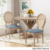 Camilo Wooden Dining Chair with Wicker and Fabric Seating (Set of 2)