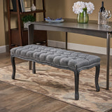 Westlyn Tufted Diamond Dining Bench with Rubberwood Legs