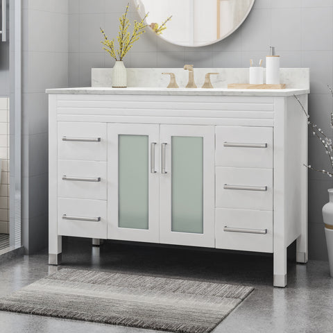 "Holdame Contemporary 48"" Wood Single Sink Bathroom Vanity with Marble Counter Top with Carrara White Marble"