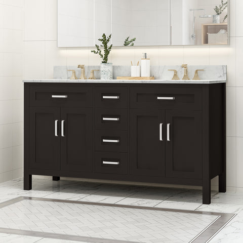 "Greeley Contemporary 60"" Wood Double Sink Bathroom Vanity with Marble Counter Top with Carrara White Marble"