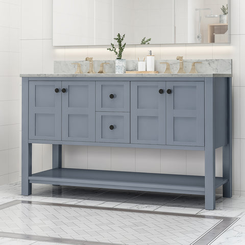 "Jamison Contemporary 60"" Wood Double Sink Bathroom Vanity with Marble Counter Top with Carrara White Marble"