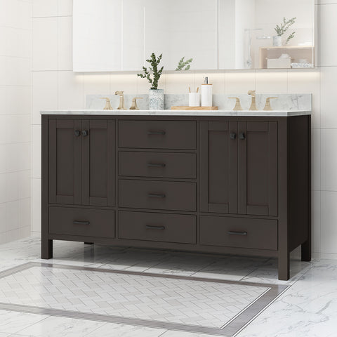 "Laranne Contemporary 60"" Wood Double Sink Bathroom Vanity with Marble Counter Top with Carrara White Marble"