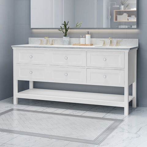 "Douvier Contemporary 72"" Wood Double Sink Bathroom Vanity with Marble Counter Top with Carrara White Marble"
