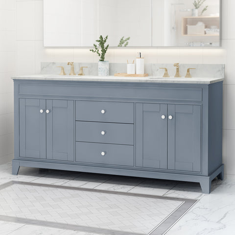 "Feldspar Contemporary 72"" Wood Double Sink Bathroom Vanity with Marble Counter Top with Carrara White Marble"