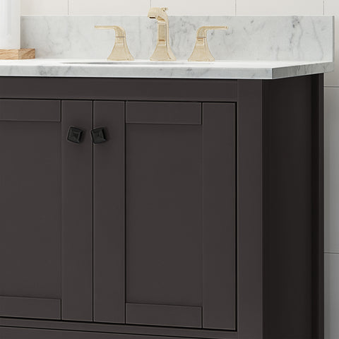 "Laranne Contemporary 72"" Wood Double Sink Bathroom Vanity with Marble Counter Top with Carrara White Marble"