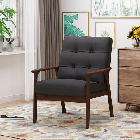 Athena Mid Century Waffle Stitch Tufted Accent Arm Chair with Rubberwood Legs - Black and Walnut Finish