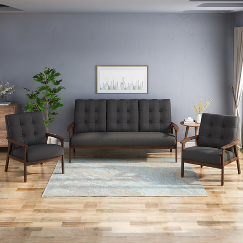 Leila Mid Century 3 Piece 5 Seater Fabric Chat Set