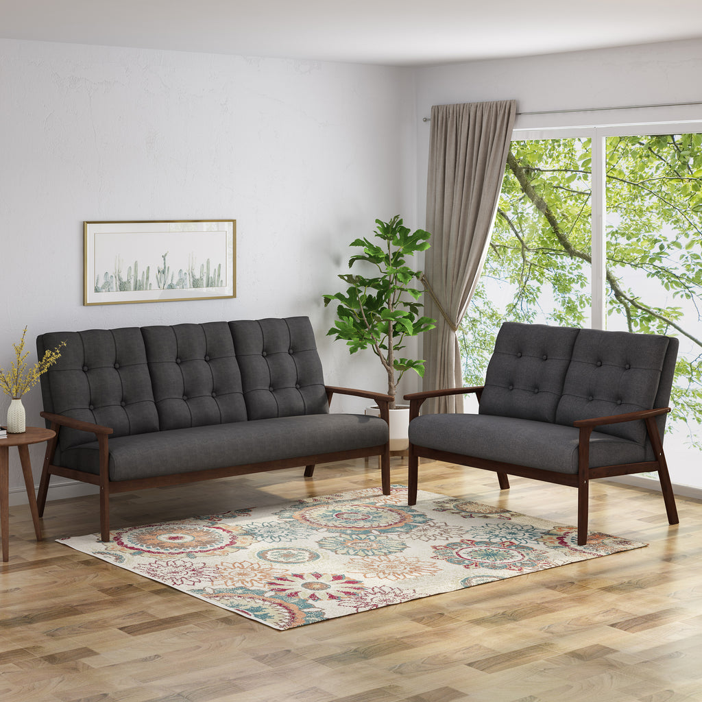 Maureen Mid Century Modern 2-Piece Fabric Sofa & Love Seat Living Room Set