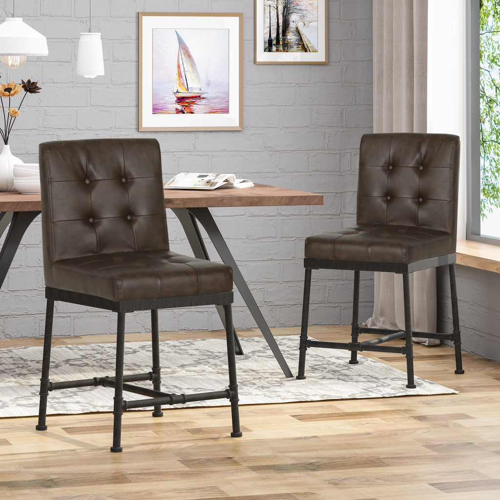 Astonishing Savannah Industrial Modern 24 Counter Stool With Faux Leather Backing And Metal Pipe Base Set Of 2 Ibusinesslaw Wood Chair Design Ideas Ibusinesslaworg