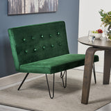 Beatrice Minimalist Dining Bench Settee with Tufted Velvet Cushion and Iron Legs
