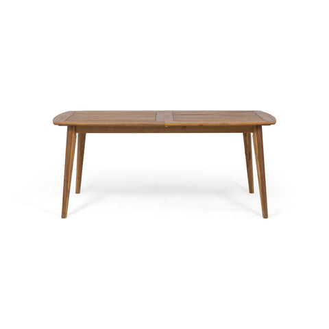 Candance Outdoor Acacia Wood Expandable Dining Table