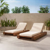 Ursula Outdoor Acacia Wood Chaise Lounge and Cushion Sets (Set of 2)