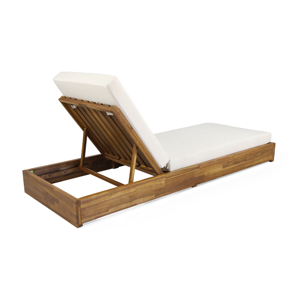 Niyanna Outdoor Acacia Wood Chaise Lounge with Cushion (Set of 2)
