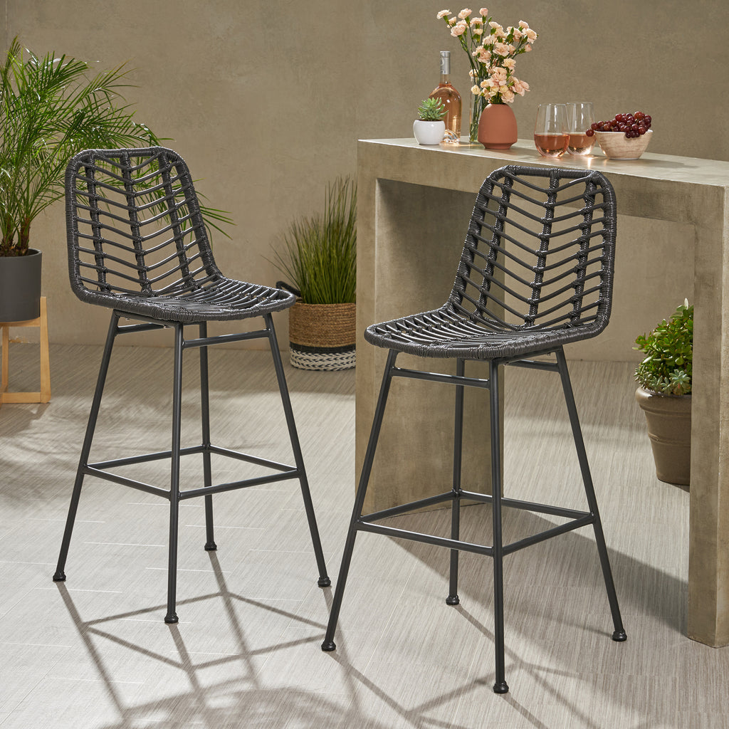 Jessie Outdoor Wicker Barstools (Set of 2)