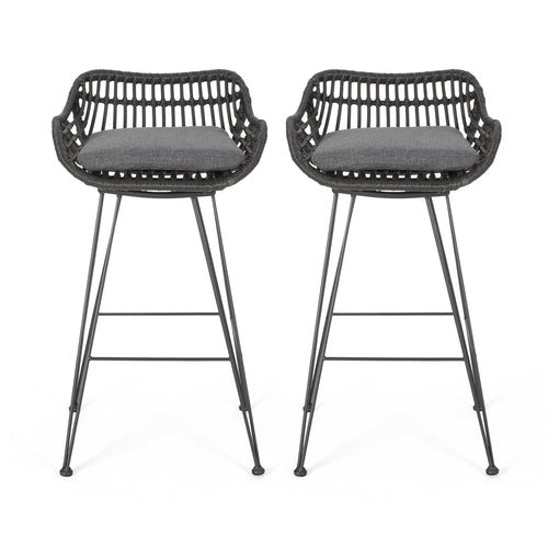 Lisa Outdoor Wicker Barstools with Cushions (Set of 2)