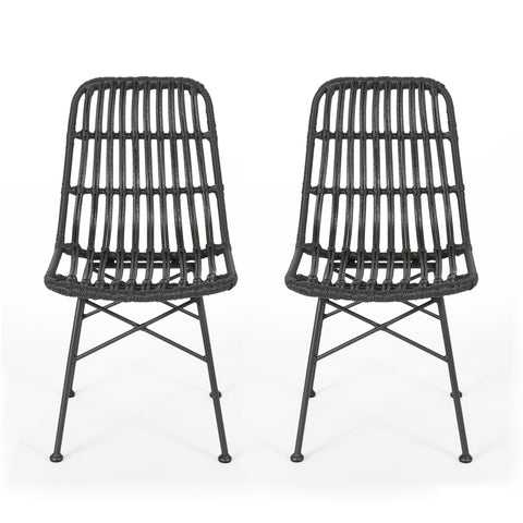 Yilia Outdoor Wicker Dining Chair (Set of 2)