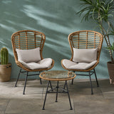 Alberta Outdoor Modern Boho 2 Seater Wicker Chat Set with Side Table