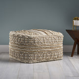 Everliegh Contemporary Wool and Cotton Pouf Ottoman