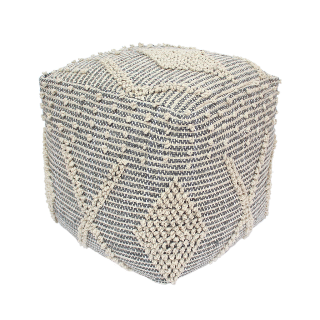 Dereka Contemporary Faux Yarn Pouf Ottoman