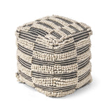 Taz Contemporary Wool and Cotton Pouf Ottoman