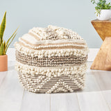 Katiya Contemporary Wool and Cotton Pouf Ottoman