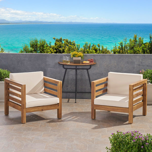 Louise Outdoor Acacia Wood Club Chairs With Cushions Set