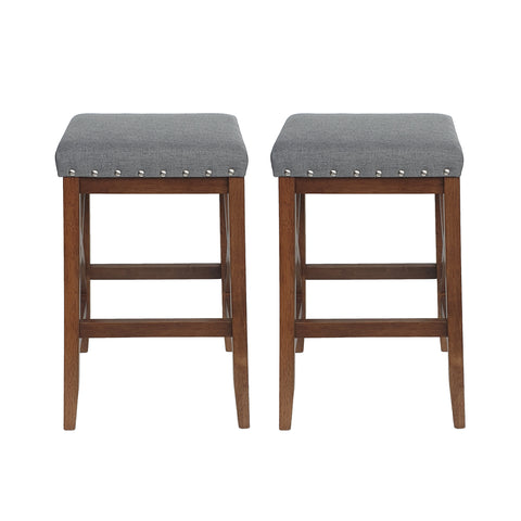 Nancy Contemporary Farmhouse Upholstered Fabric Barstools (Set of 2)