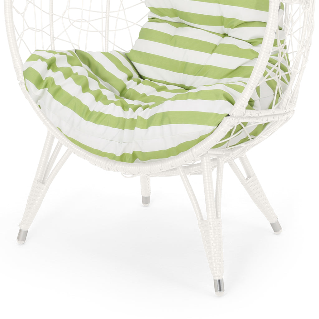 Hendryx Outdoor Wicker Teardrop / Egg Chair with Cushion
