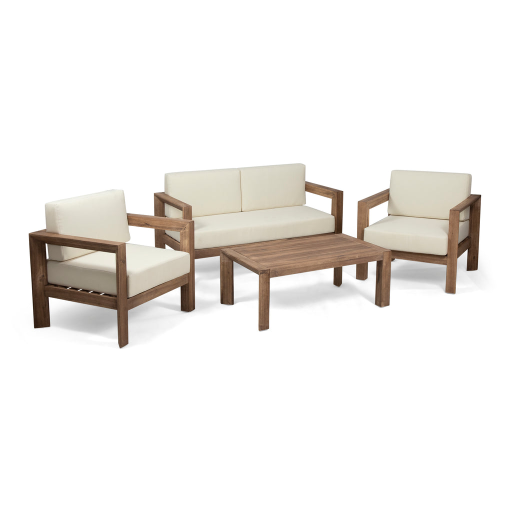 Rosemary Outdoor 4 Seater Acacia Wood Chat Set Gdf Studio