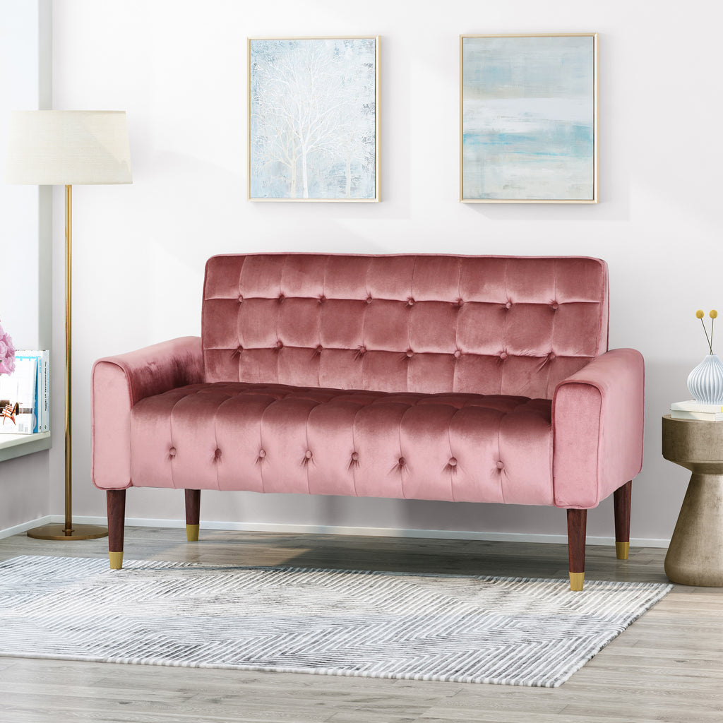Aubrie Tufted Velvet Loveseat with Gold Tipped Tapered Legs