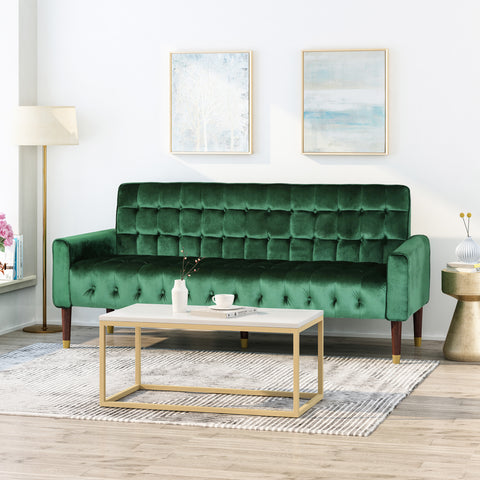 Adan Tufted Velvet Sofa with Gold Tipped Tapered Legs