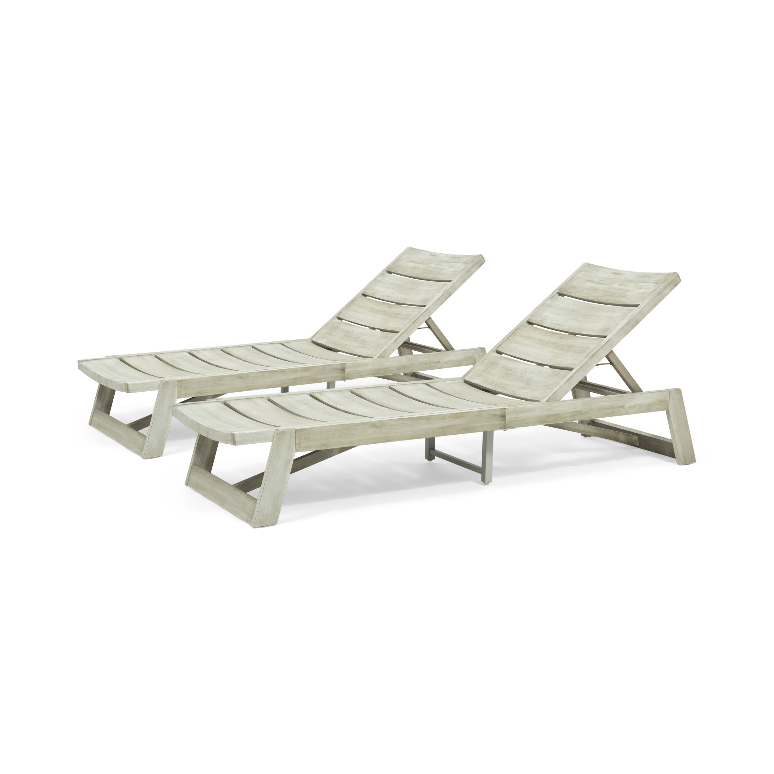 Adelaide Outdoor Wood and Iron Chaise Lounges Set of 2 Teak