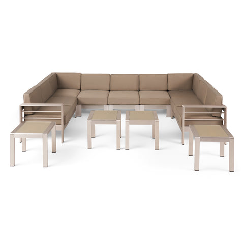 Brianna Outdoor 9 Seater Aluminum Sectional Sofa Set with Side Tables