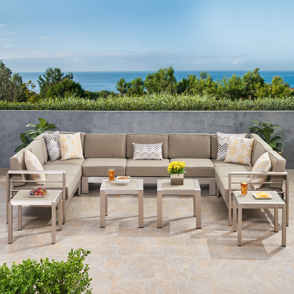 Fine Brianna Outdoor 9 Seater Aluminum Sectional Sofa Set With Side Tables Short Links Chair Design For Home Short Linksinfo