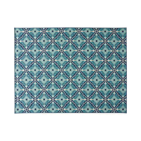 Belinda Outdoor Trellis Area Rug, Navy and Blue
